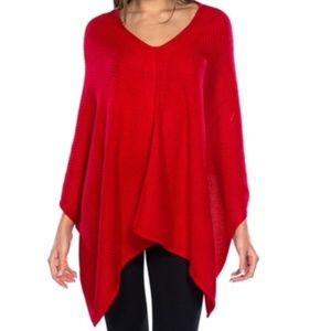 RED KNITTED PONCHO * womens fall winter comfy